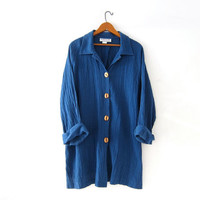Vintage indigo blue tunic shirt. Oversized trapeze top. Wooden buttons. Minimalist shirt. 2XL