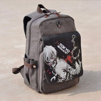 longmiao Canvas Kaneki Ken School Bags Anime Cartoon Tokyo Ghoul Bag Travel Durable Teenager School Tokyo Ghoul Cosplay Backpack