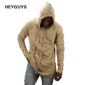 HEYGUYS new design hoodie ripped damage men color fashion sweatshirts brand orignal design casual suit pullover suit autumn