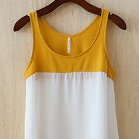 Day Trip Color Block Tank, Mustard