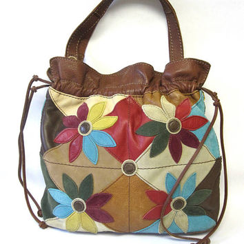Lucky Brand Patchwork Leather Purse Large Hobo Handbag