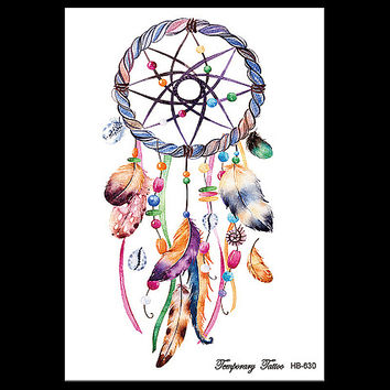 1 Sheet Dreamcatcher Tattoo Feather Decal HB630 Dream Catcher Women Body Art Makeup Tool Temporary Tattoo Sticker Birthday Gifts