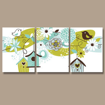 Wall Art Canvas Bird House Flower Girl Child Nursery Artwork Design Brown Green Aqua Nursery Set of 3 Prints Decor Bedroom Bathroom Three