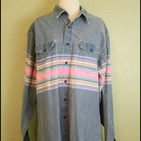 Vintage Men's '70s Southwestern Shirt// Striped by StoriesForBoys
