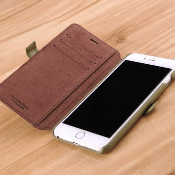 iPhone 6(s) Plus Genuine Leather Book Style Wallet Phone Case - Olive Green on Coffee Lining