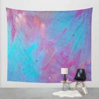 Blue Bloom Abstract Wall Tapestry by DuckyB (Brandi)