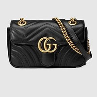 Gucci Trending Women Metal GG Buckle Leather Satchel Shoulder Bag Crossbody Black I