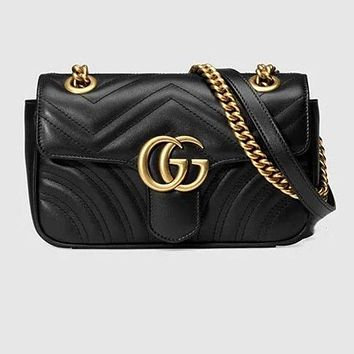 Gucci Fashion Metal GG Buckle Leather Satchel Shoulder Bag Crossbody Black I