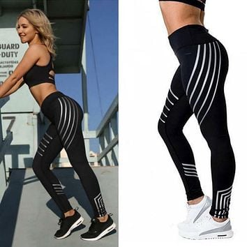 Leggings Yoga Gym Fitness Athleisure Workout Running Zumba Black Pink Striped