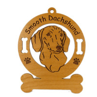 3036 Smooth Dachshund Head Ornament Personalized with Your Dog's Name