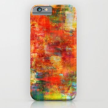 AUTUMN HARVEST - Fall Colorful Abstract Textural Painting Warm Red Orange Yellow Green Thanksgiving iPhone & iPod Case by EbiEmporium
