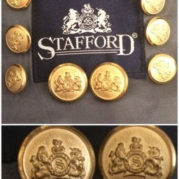 "Stafford Blazer Suit Jacket Replacement Buttons Set Lot 8 Metal Gold Tone ""S"""