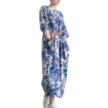 Serenely Printed Linen Dress