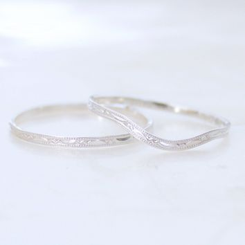 Engraved 1.5mm Heartbeat of Love Curved or Straight Vintage Inspired Wedding Band