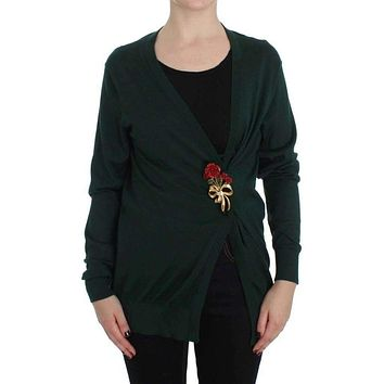 Dolce & Gabbana Green Silk Cashmere Rose Cape Sweater