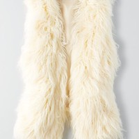 AEO Women's Faux Fur Vest (Cream)