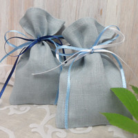 Set of 75 favor bags christening , gift bags, organic linen bags,  blue-grey bags,