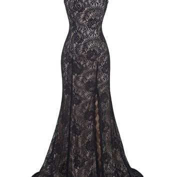Black Evening Dress See Through Back High-Split Lace Party Gown Floor Length Long Evening Dresses