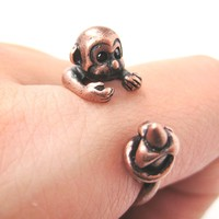Monkey Animal Wrap Ring with Banana in Copper - Sizes 4 to 9 Available