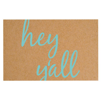 "KESS Original ""Hey Y'all"" Brown Blue Decorative Door Mat"