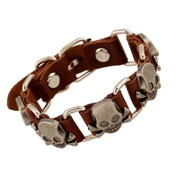 Great Deal Stylish Shiny Awesome New Arrival Hot Sale Gift Punk Rivet Leather Bangle Vintage Skull Alloy Men Ring Bracelet [6526708419]
