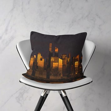 New York Skyline Throw Pillow or Pillow Cover. NYC Outdoor Pillow. New York Seat Cushion Cushion. New York City Home Decor