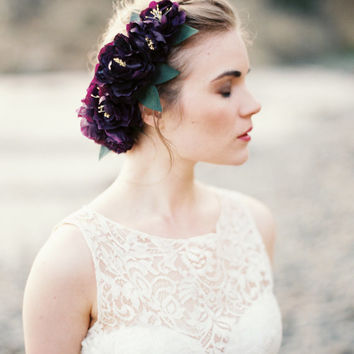 Silk Flower Headpiece, Purple Flower Hairpiece, Bridal Comb, Wedding Hair Flower, Eggplant - MADE to ORDER Style 6814