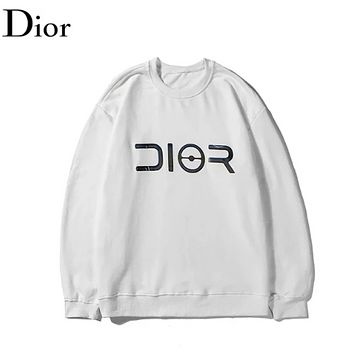 DIOR Fashion New Reflective Letter Print Womern Men Long Sleeve Top Sweater White
