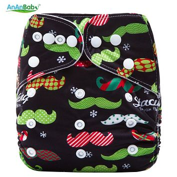 Xmas Cloth Diaper Reusable Autumn Baby Nappies Waterproof Winter Newborn Cover Snap Pocket Diapers Washable Cotton For Infants