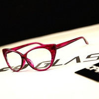 Reily Solid Frame Lens Cat Eye Glasses
