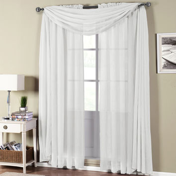 Abri White Rod Pocket Crushed Sheer Curtain Panel