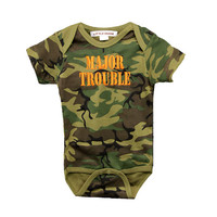 Camouflage Bodysuit with Major Trouble  FREE SHIPPING camo baby boy, camouflage bodysuit, major trouble camo  bodysuit, baby boy shower gift