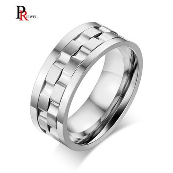Unique Double Gear Shaped Spinner Rings for Men 9MM Stainless Steel anel masculino Silver Color