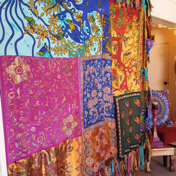 Boho Hippie Curtain Canopy Bohemian chic Wedding Wall Decor photo prop backdrop Fringe Room Divider hippy vtg scarves Gypsy patchwork patio