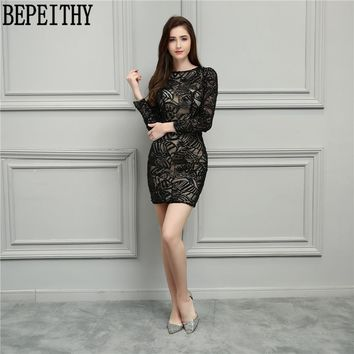 BEPEITHY New Design Vestido De Festa Longo O-Neck Little Black Dresses Long Sleeve Short Prom Dresses Cocktail Dresses 2018