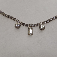 14 inch Single Strand Rhinestone Necklace with Three Pendant Rhinestones