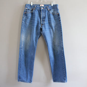 Levis 501 34 Waist Vintage Levis's Jeans High Waisted Button Fly Straight Leg Washed Denim Mom Jeans Boyfriend Jeans Hipster 34X32 #P002A
