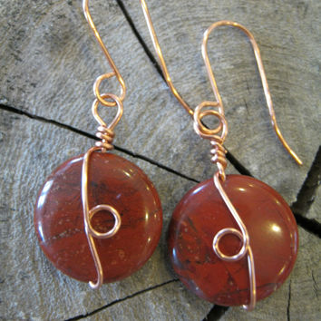 Red River Jasper Earrings , Copper Wire Wrapped Stone Jewelry , Handmade