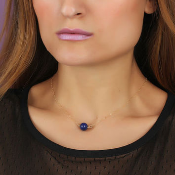 "Lapis lazuli necklace, lapis pendant, gemstone necklace, dark blue necklace, lapis necklace, blue gold necklace, dark blue jewelry, ""Nomia"""