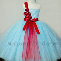 Blue Girls Tutu Dress, Flower Girl Dress, Birthday Tutu, Pageant Dress, Handmade Dress for Toddlers