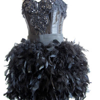Corset Burlesque Dress with Boa Feathers and Vintage Beaded Applique