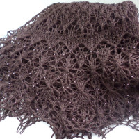brown handknit shawl beaded shawls handmade wraps dark chocolate shawl beaded wrap winter shawl gift for her shawl merino wool knitted lace