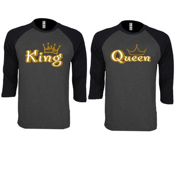 Gold King and Queen Couple Charcoal / Black Baseball T-shirt