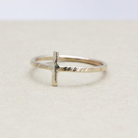 gold filled  sideways cross ring