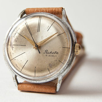Mens watch Raketa mechanical wristwatch silver sandy by SovietEra
