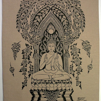 Buddha in Lotus position hands open Sketch Wall Hanging Batik Tapestry, silkscreen on natural cotton, Symbol of Deep inner Peace &Stability