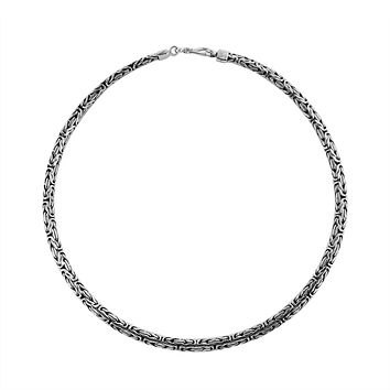 """AN-6276-S-22"""" Sterling Silver Bali Hand Crafted Chain 3X5MM Graduated Necklace"""