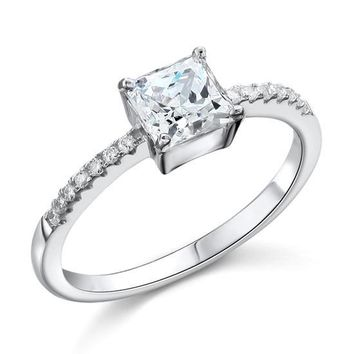 1 Carat Created Princess Diamond Engagement Sterling 925 Silver Ring
