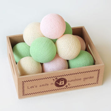 20 Cotton Ball String Lights for Bedroom, Wedding Decor, Patio Party, Fairy, Outdoor - Pastel Pink Cream Green