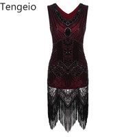Tengeio 1920s Great Gatsby Dress Tassel Sequined Flapper Party Dresses Ladies Summer Sexy Bodycon Retro Vintage Dress 30A